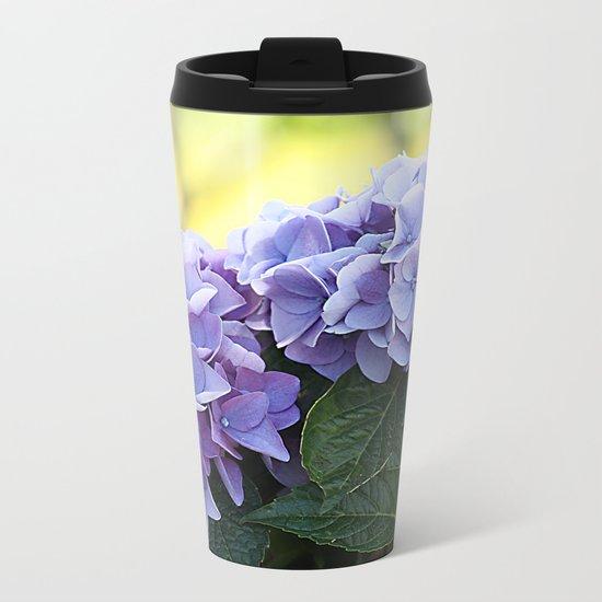 Purple hydrangea(1). Metal Travel Mug