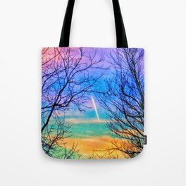 Pastel Plane Take-Off Tote Bag