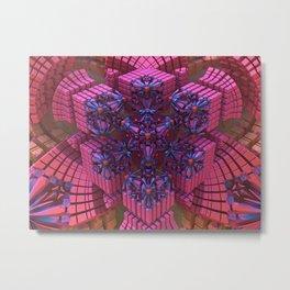 Flower Cube Pink Metal Print