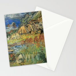 Kida Kinjiro - Landscape of Horikappu in Autumn / Repairing Fishing Nets (1961) Stationery Cards