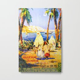"Retro travel poster ""Algeria, Tunisia"" Metal Print"