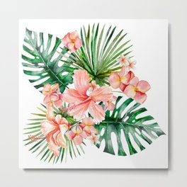 Tropical Jungle Hibiscus Flowers - Floral Metal Print