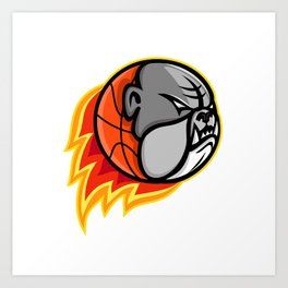 Bulldog Blazing Basketball Mascot Art Print