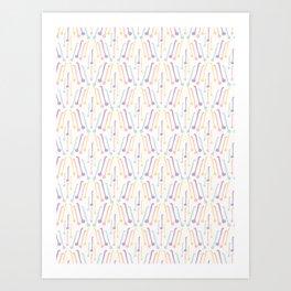 Tea Spoons Vector Cutlery Pattern Pastel Colors Art Print