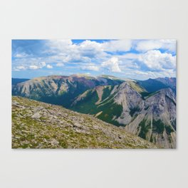 Views from the top of Sulphur Skyline in Jasper National Park, Canada Canvas Print