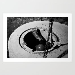 Placing a Manhole Art Print