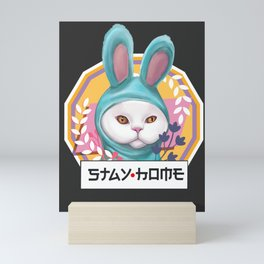 Funny cat stay at home in bunny's costume pajamas floral pink and blue (black background version ) Mini Art Print