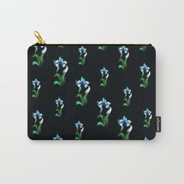 Blue green neon flowers on black Carry-All Pouch