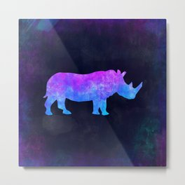 RHINO IN SPACE // Animal Graphic Art // Watercolor Canvas Painting // Modern Minimal Cute Metal Print