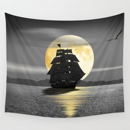 A ship with black sails Wall Tapestry