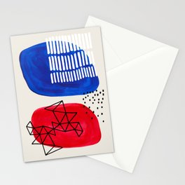 Fun Abstract Minimalist Mid Century Modern Colorful Shapes Red Blue Color Harmony Watercolor Bubbles Stationery Cards