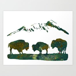 Buffaloes in Nature Scenery Art Print