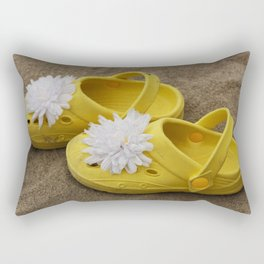 Yellow beach shoes on the sand Rectangular Pillow