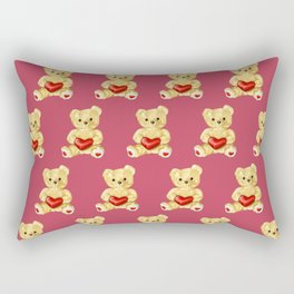 Cute Teddy Bears Pink Pattern Rectangular Pillow