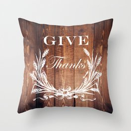 rustic western country barn wood farmhouse wheat wreath give thanks Throw Pillow