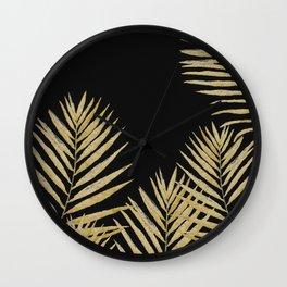 Golden Fern On Black Background Wall Clock