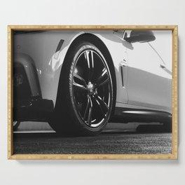 Black Rim Sports Car // White Paint Street Level B&W German Bavarian Motor Automobile Photograph Serving Tray