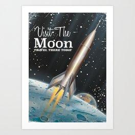 visit the moon vintage science fiction poster Art Print