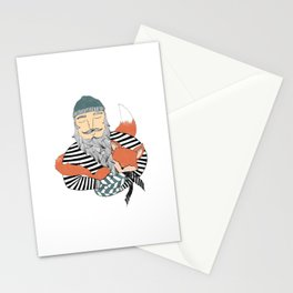 Man and fox. Stationery Cards