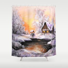 Winter in the village # 3 Shower Curtain