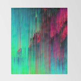 Just Chillin' - Abstract Neon Glitch Pixel Art Throw Blanket