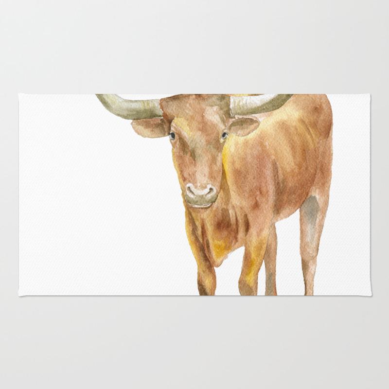 Texas Longhorn Steer Watercolor Rug by Susanwindsor RUG7915699