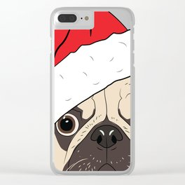 Christmas pug, festive dog vector Clear iPhone Case