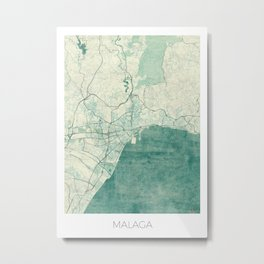 Malaga Map Blue Vintage Metal Print