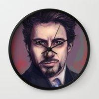 tony stark Wall Clocks featuring Tony Stark by pandatails