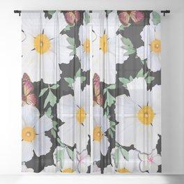 Matilija Poppies and Plumeria Sheer Curtain