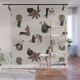 Playing black cat home Wall Mural