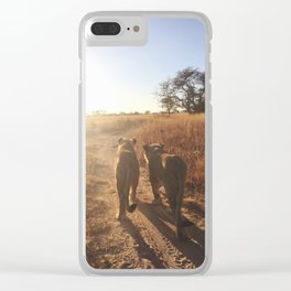 Lion Pride Walk Clear iPhone Case