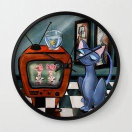 Fishing Show Re-runs: cat,fish,mid century modern,alma lee,kitten,kitty,50's,pop,atomic decor Wall Clock