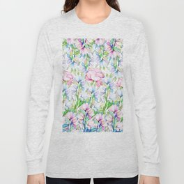 Hand painted pink lavender teal watercolor floral Long Sleeve T-shirt