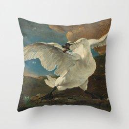 The threatened swan - Jan Asselijn (1650) Throw Pillow