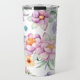 Pastel pink lavender green watercolor hand painted floral Travel Mug