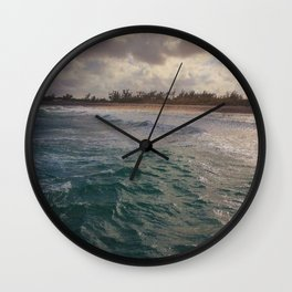 Stormy Coastline, rain clouds and sunlight Wall Clock