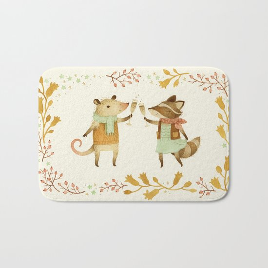 Cheers! From Pinknose the Opossum & Riley the Raccoon Bath Mat