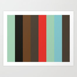 Pattern that spells ABSTRACT Aquamarine Black Sepia Taupe Red Aquamarine Cyan Taupe Art Print
