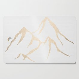 Adventure White Gold Mountains Cutting Board