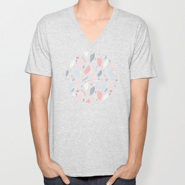 A Frolic Of Flowers And Leaves In A Perfectly Pretty Pastel Pattern Unisex V-Neck