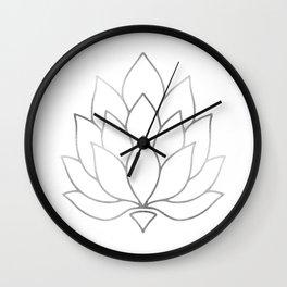 Silver Foil Lotus Flower Wall Clock