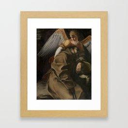 GENTILESCHI, ORAZIO LOMI DE Pisa, 1563 - Londres, 1639 Saint Francis supported by an Angel Ca. 1607 Framed Art Print