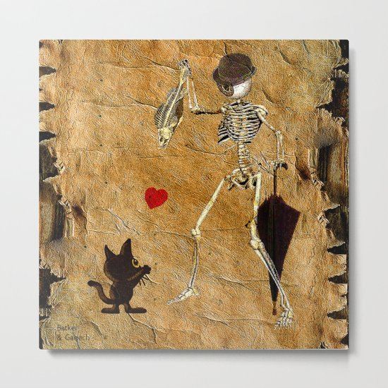 Monsieur Bone loves cat ( work combined by Batkei and Ganech ) Metal Print