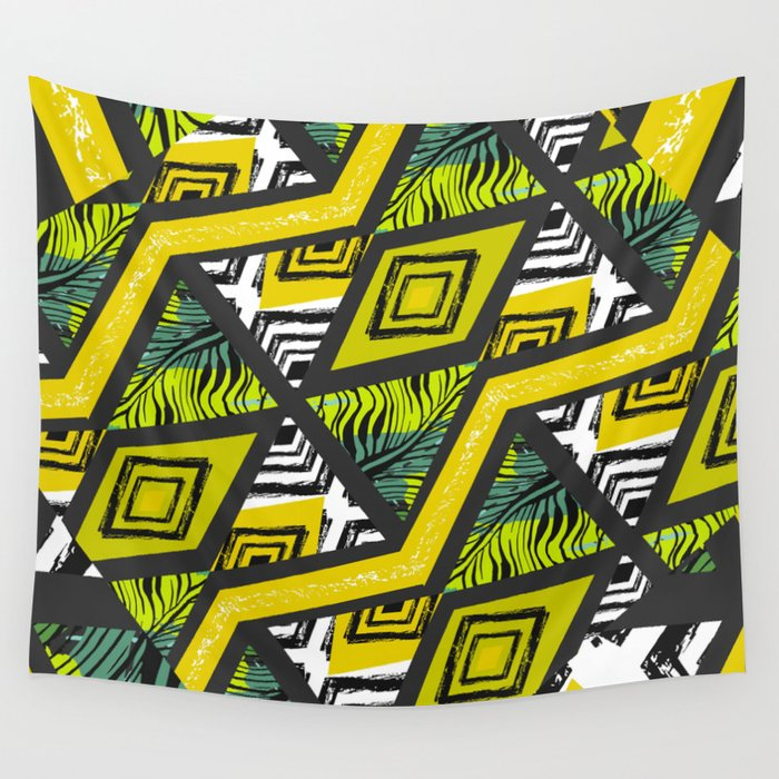 Yellow tropical vibes Wall Tapestry