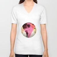 dessert V-neck T-shirts featuring DESSERT RAIN by d.ts