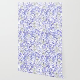 blue purple African lily watercolor painting Wallpaper