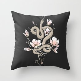 Magnolia and Serpent Throw Pillow