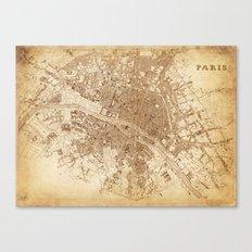map of Paris 1843 Canvas Print