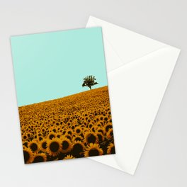 Sunflowers in green Stationery Cards